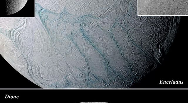 This montage shows four major icy moons of Saturn that NASA's Cassini spacecraft visited while surveying the Saturnian system during 2005. Largely of ice, they exhibit remarkably different geological histories and varied surface features.
