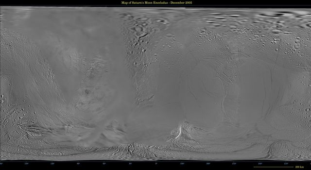 This global digital map of Saturn's moon Enceladus was created using data taken during NASA's Cassini and Voyager spacecraft flybys. The map is an equidistant projection and has a scale of 110 meters (361 feet) per pixel.
