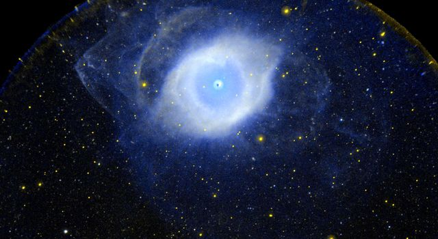 This ultraviolet image from NASA's Galaxy Evolution Explorer is  of the planetary nebula NGC 7293 also known as the Helix Nebula.