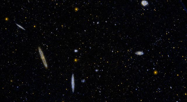 This ultraviolet image from NASA's Galaxy Evolution Explorer is of a small area of the Virgo Cluster of galaxies.