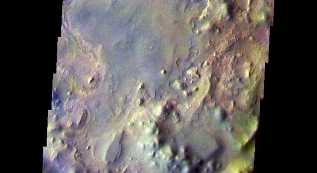 This false-color image from NASA's Mars Odyssey spacecraft shows a portion of the Iani Chaos region that was collected during the Mars' southern fall season.