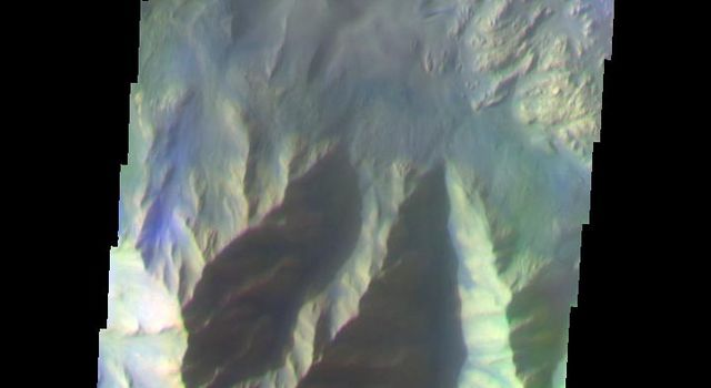 This false-color image from NASA's Mars Odyssey spacecraft shows a canyon wall located in Hebes Chasma, taken during Mars' southern fall season.