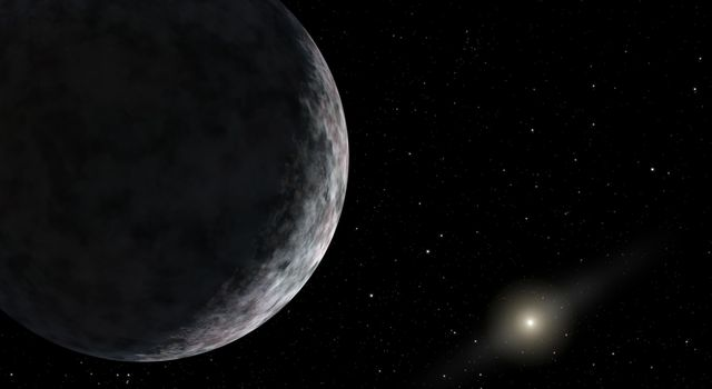 This artist's concept shows the planet catalogued as 2003UB313 at the lonely outer fringes of our solar system. Our Sun can be seen in the distance. The new planet is at least as big as Pluto and about three times farther away from the Sun than Pluto.