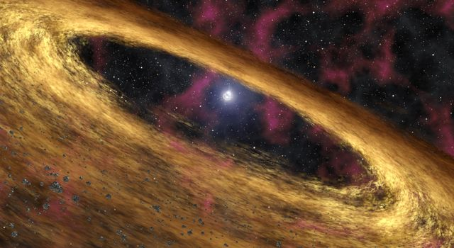 This artist's concept depicts a type of dead star called a pulsar and the surrounding disk of rubble discovered by NASA's Spitzer Space Telescope. The pulsar, called 4U 0142+61, was once a massive star until about 100,000 years ago.