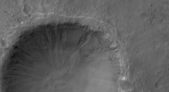 This NASA Mars Global Surveyor image shows a 1.5 meters (~5 feet) per pixel view of a crater in the Terra Cimmeria region of Mars. Several gullies extend from near the top of the crater rim, downslope toward the floor of the crater.