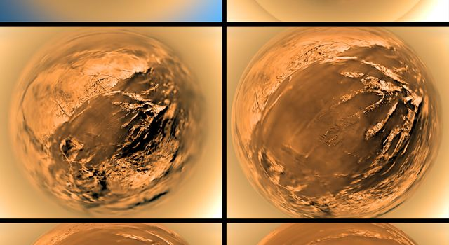 This poster shows a stereographic (fish-eye) view of Titan's surface from six different altitudes. The images taken by the European Space Agency's Huygens probe descent imager/spectral radiometer show the haze layer at 20 to 21 kilometers.