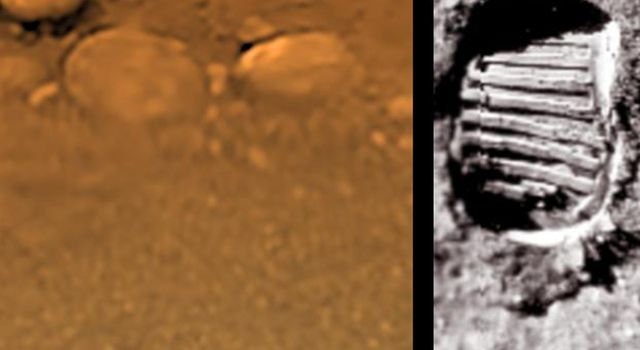 This poster shows a composite view from the descent imager/spectral radiometer taken while the European Space Agency's Huygens probe was setting on Titan's surface, juxtaposed with a similarly scaled picture taken on the Moon's surface.
