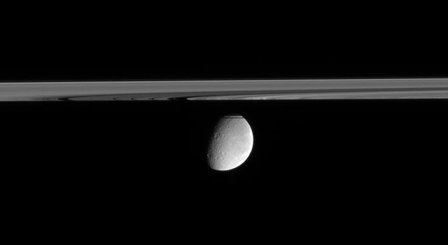 Crater-scarred Rhea floats in the distance, peeking out from behind Saturn's partly shadowed rings. This view from NASA's Cassini spacecraft looks upward from just beneath the ringplane.