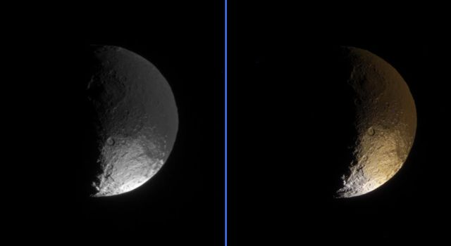 Saturn's yin-yang moon Iapetus is seen in these two views showing the moon's dark leading hemisphere. This image was taken by NASA's Cassini spacecraft on April 8, 2006.