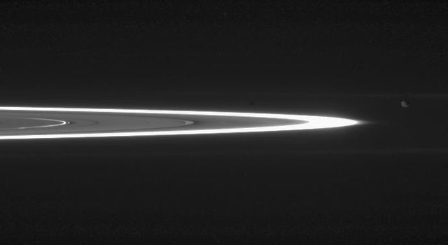 Tiny, dust-sized particles in Saturn's rings become much easier to see at high phase angle -- the angle formed by the Sun, the rings and the spacecraft. The brightest ring is the F ring as seen by NASA's Cassini spacecraft.