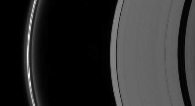 This image from NASA's Cassini spacecraft shows the clumpy disturbed appearance of the brilliant F ring. The irregular structure of the ring is due to the gravitational perturbations on the ring material by one of Saturn's moons, Prometheus.