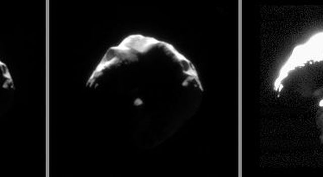 This set of images exposes details on small and crumpled-looking Helene. Large portions of this Trojan moon of Dione appear to have been blasted away by impacts. This image was captured by NASA's Cassini spacecraft.