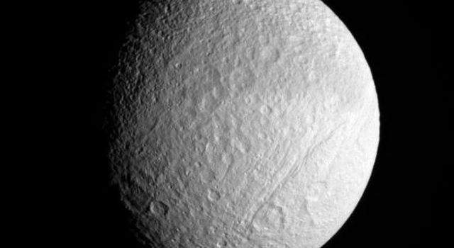 Tethys has a crater-saturated surface, where older, larger basins have been completely overprinted by newer, smaller impacts. This view was captured in visible light with NASA's Cassini spacecraft's narrow-angle camera.