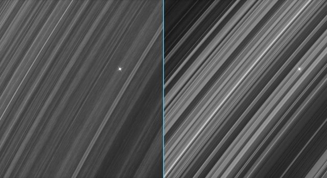 These side-by-side views of a star seen through Saturn's densely populated B ring show marked contrast between the region. Images were taken in visible light with NASA's Cassini spacecraft's narrow-angle camera on Sept. 26, 2006.