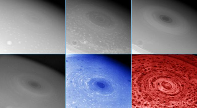These images of Saturn's south pole, taken by two different instruments on NASA's Cassini spacecraft, show the hurricane-like storm swirling there and features in the clouds at various depths surrounding the pole.