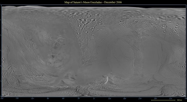 This global digital map of Saturn's moon Enceladus was created using data taken by NASA's Cassini spacecraft, with gaps in coverage filled in by NASA Voyager spacecraft data.