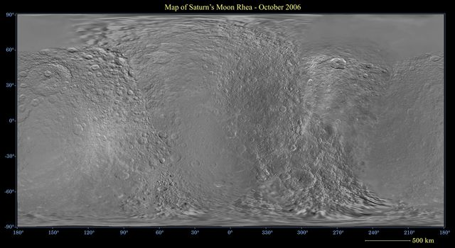 This global digital map of Saturn's moon Rhea was created using data taken during NASA's Cassini and Voyager spacecraft flybys.