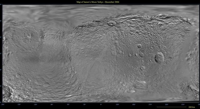 This global digital map of Saturn's moon Tethys was created using data taken by NASA's Cassini spacecraft, with gaps in coverage filled in by NASA's Voyager spacecraft data.