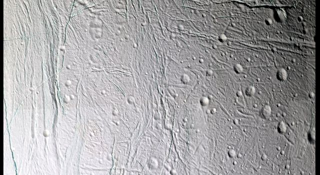 Fine topographic detail and color variations are revealed in this 11-image, false color mosaic taken during NASA's Cassini's second close flyby of Saturn's moon Enceladus, on March 9, 2005.