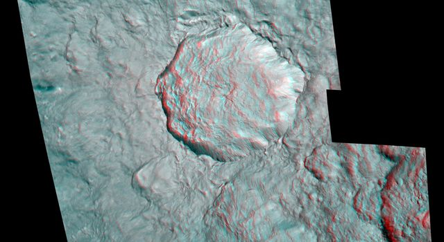 The hummocky floor of a crater on Saturn's moon Rhea possesses a central peak and clusters of small craters as seen in this anaglyph from NASA's Cassini spacecraft.