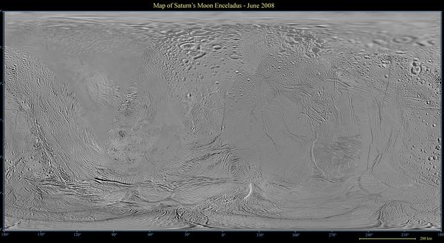 This global map of Saturn's moon Enceladus was created using images taken during NASA's Cassini spacecraft flybys, with Voyager images filling in the gaps in Cassini's coverage.