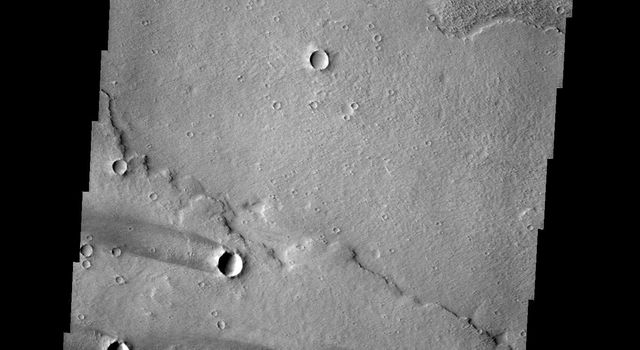 This group of windstreaks is located on lava flows west of Arsia Mons on Mars as seen by NASA's 2001 Mars Odyssey spacecraft.