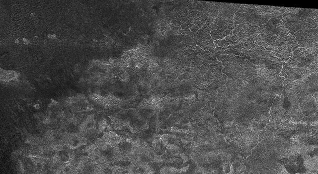 This image from the Synthetic Aperture Radar instrument on NASA's Cassini spacecraft shows the radar-bright western margin of Xanadu, one of the most prominent features on Titan.