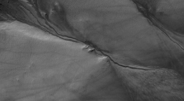NASA's Mars Global Surveyor shows neighboring networks of gullies in the northwest wall of a south middle-latitude crater west of Hellas Planitia on Mars.