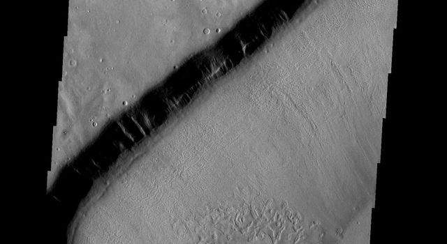 This crater on Mars appears to be in the process of being covered over by downslope movement of material. These large slopes of material are common in Deuteronilus Mensae as seen by NASA's 2001 Mars Odyssey.