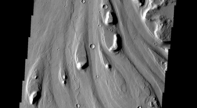 These streamlined islands are located in Mangala Vallis on Mars as seen by NASA's 2001 Mars Odyssey spacecraft.