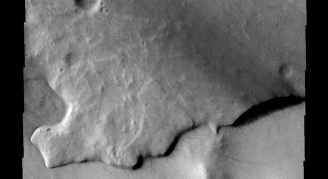 This image is from NASA's 2001 Mars Odyssey. THEMIS ART IMAGE #61 With an impact crater for an eye - this layer of material resembles a large fish.