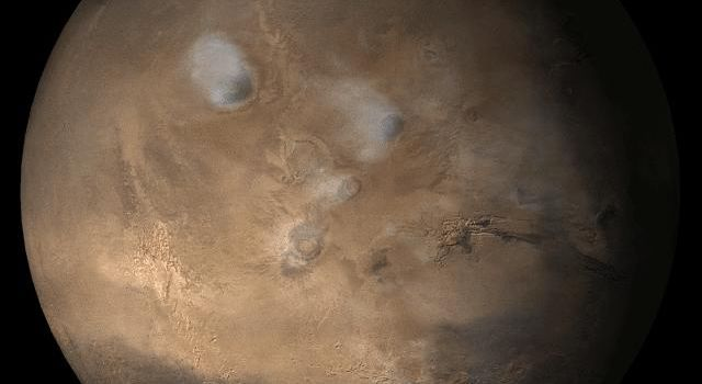 NASA's Mars Global Surveyor shows the Tharsis face of Mars in mid-July, 2006.
