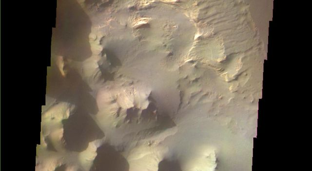 This image shows part of Eos Chasma on Mars as seen by NASA's 2001 Mars Odyssey spacecraft.