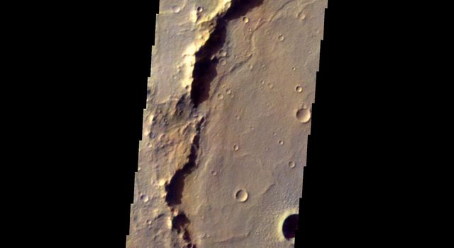 This image shows part of eastern Hesperia Planum on Mars as seen by NASA's 2001 Mars Odyssey spacecraft.