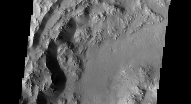 The rim and floor of this southern crater on Mars are relatively unmodified, indicating that this crater is younger than its more weathered neighbors as seen by NASA's 2001 Mars Odyssey spacecraft.