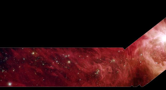 This image composite shows a part of the Orion constellation surveyed by NASA's Spitzer Space Telescope. The shape of the main image was designed by astronomers to roughly follow the shape of Orion cloud A, an enormous star-making factory.
