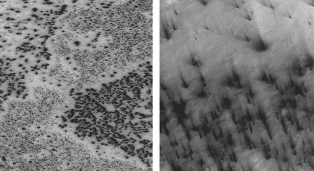 Dark spots (left) and 'fans' appear to scribble dusty hieroglyphics on top of the Martian south polar cap in two high-resolution images from NASA's Mars Global Surveyor taken in southern spring.