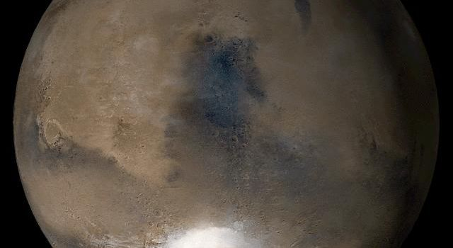 NASA's Mars Global Surveyor shows the Syrtis Major face of Mars in mid-August 2006.