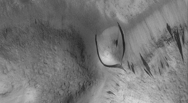 NASA's Mars Global Surveyor shows some dark slope streaks in the Phlegra Dorsa region of Mars. Of particular interest is the split streak near the center of the image, which diverted around a rounded hill as the material was sliding down the slope.