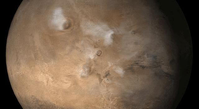 NASA's Mars Global Surveyor shows the Tharsis face of Mars in mid-September 2006.