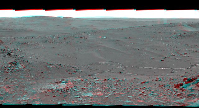 NASA's Mars Exploration Rover Spirit used its panoramic camera (Pancam) to record a 360-degree vista, dubbed the 'Everest' panorama, from the top of 'Husband Hill' in early October 2005. 3D glasses are necessary to view this image.