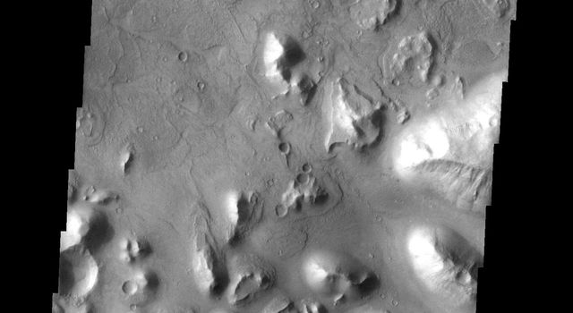 This region of small hills and chaos is called Hydaspis Chaos on Mars as seen by NASA's Mars Odyssey spacecraft.