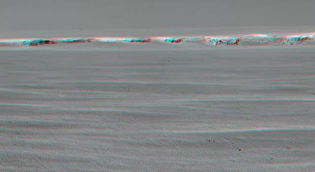 This anaglyph from NASA's Mars Exploration Rover Opportunity at the rim of Victoria Crater. 3D glasses are necessary to view this image.