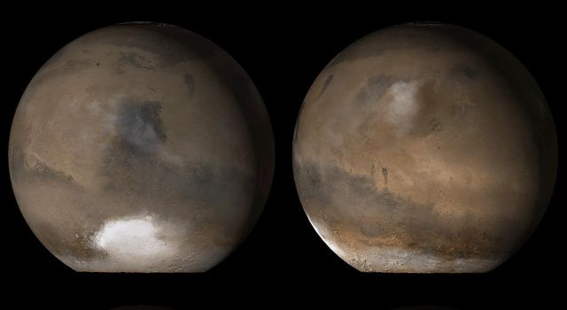 NASA's Mars Global Surveyor captures what Mars typically looks like in mid-afternoon. With the exception of occasional differences in weather and polar frost patterns, this is what the red planet looked like on October 2006).