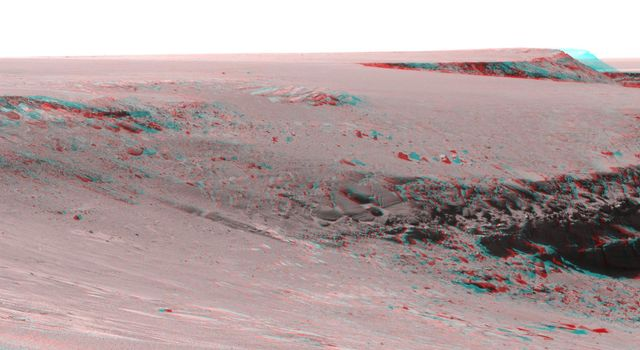 This anaglyph from NASA's Mars Exploration Rover Opportunity is of Victoria crater, looking north from 'Duck Bay' towards the dramatic promontory called 'Cape Verde.' 3D glasses are necessary to view this image.