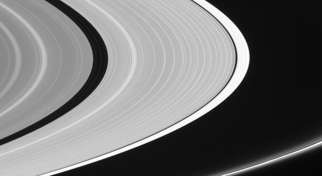 Ringlets in the Encke Gap and flanking the bright F ring core are clearly visible as seen by NASA's Cassini spacecraft.
