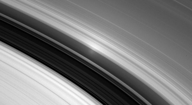 With the Sun directly behind NASA's Cassini, the spacecraft spies the opposition surge in Saturn's inner A ring. The opposition effect becomes visible from this special viewing geometrry.