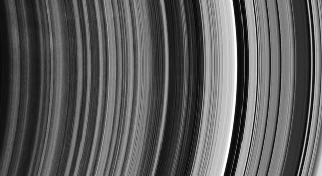 This ringscape shows the outermost part of the rings' spoke-forming region, the other edge of the B ring, and the regular bands of material within the Cassini Division. This image is from NASA's Cassini spacecraft.