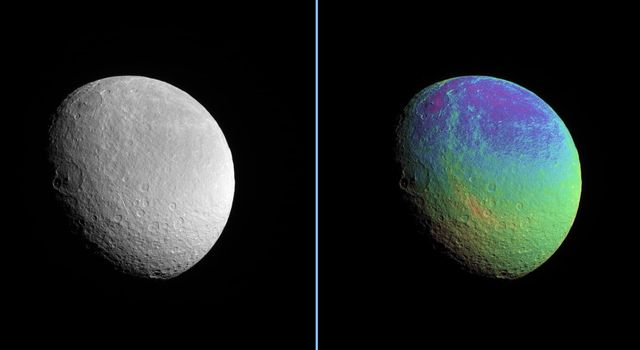 Rhea displays a marked color contrast from north to south that is particularly easy to see in this extreme color-enhanced view from NASA's Cassini spacecraft.