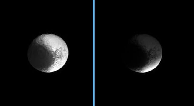 Darkness sweeps over Iapetus as NASA's Cassini spacecraft watches the shadow of Saturn's B ring engulf the dichotomous moon. The image at left shows the unshaded moon, while at right, Iapetus sits in the shadow of the densest of Saturn's rings